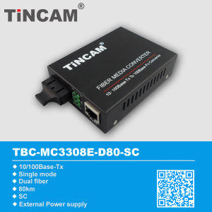 10/100m Single Mode Dual Fiber Sc 80km Fiber Media Converter