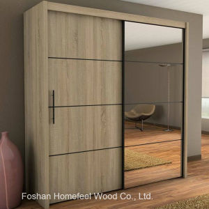 Durable Bedroom Furniture 2 Door Mirrored Sliding Wardrobe (WB32) pictures & photos