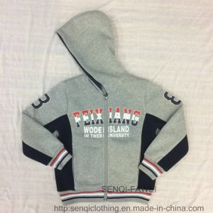 Fashion Grey Zip-up Fleece Boy Coat Clothes with Hood in Kids Clothes Sq-6445 pictures & photos