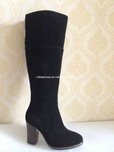 Latest Fashion High Heels Winter Rubber Leather Lady Boots pictures & photos