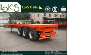 40 Feet 3 Axles Twin Tyre Flatbed Trailer pictures & photos