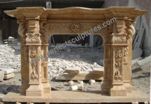 Fireplace with Stone Marble Limestone Sandstone Granite (QY-LS386) pictures & photos