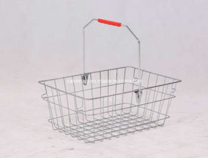 Plastic Handle Wire Metal Shopping Basket
