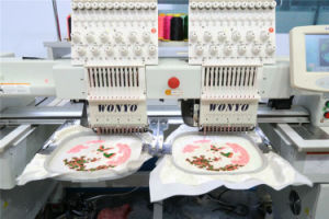 High Speed 2 Head Tubular Computerized Embroidery Machine for Cap and T-Shirt 9/12/15 Colors pictures & photos