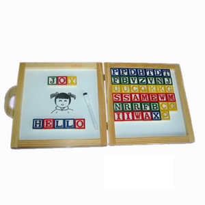 Black Board Wooden Toy - Letter Block Write Board