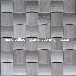 3D Mosaic Tile, Grey Wood Wein Marble Mosaic (HSM105) pictures & photos