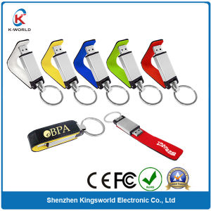 Anti-Copy Leather USB Flash Drive with Custom Color (KW-0079) pictures & photos