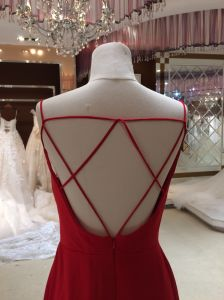 Sheath Long Thin Straps Wedding Bridesmaid Dress (Belt not for sale) pictures & photos
