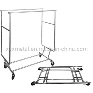 Folding Telescopic Double Rails Rolling Salesman′s Cloth Rack pictures & photos