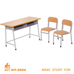 Wood Kids Furniture Double Educational Desk with Chairs pictures & photos