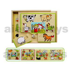Wooden Puzzles in Wooden Box (4PCS/set) pictures & photos