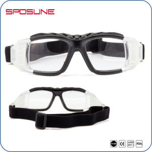Premium Black Frame Clear Lens Paintball Glasses Protective Balistic Basket Soccer Shooting with Anti Slip Strap Goggle pictures & photos