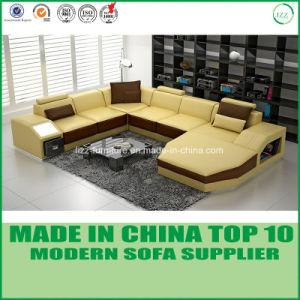 Nordic Wooden Funirutre U Shape Italian Leather Sofa pictures & photos