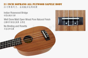 Aiersi Brand 21 Inch Soprano Pineapple Sapele Body Ukulele pictures & photos