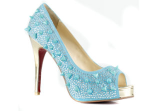 Fashion High Heel Dress Shoes with Diamond (HS17-056) pictures & photos