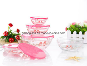 5PCS Glass Bowl Set with Pink Pig Decal pictures & photos