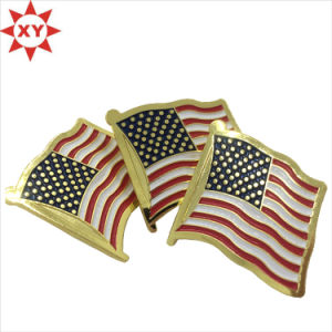 Custom America Enamel Metal Shiny Gold Pin Badge pictures & photos