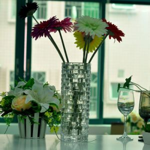 1.5L Round Shaped Large Size Clear Glass Vase with Woven Pattern pictures & photos