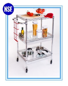 Adjustable Chrome Kitchen Metal Storage Trolley -New (TR7535120B3CW) pictures & photos