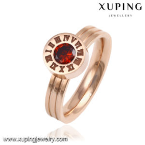 13891 Fashion Fancy CZ Round Goldr-Plated Stainless Steel Jewelry Finger Ring for Women pictures & photos
