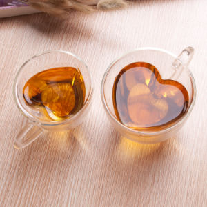 Heat Resistant Heart Shape Double Wall Glass Bottle Glass Cup pictures & photos