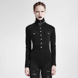 T-434 Punk Slim-Fitting Sexy Siamese Turtleneck Military Uniform Long Sleeve T-Shirt pictures & photos