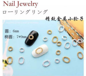 Hot Selling Japan Style Gold Color Round Ellipse Designs Alloy Nail Art Decoration