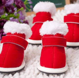 Autumn and Winter Christmas Warm Red Casual Pet Shoes pictures & photos