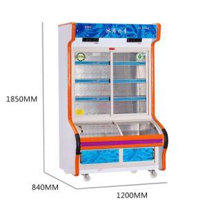 Double Temperature Sliding Glass Door Dish Oder Refrigerator pictures & photos