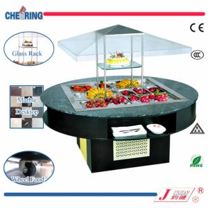 Cheering Luxury Round Type Marble Commercial Salad Bar Cooler with Ce (E-P1800FL8) pictures & photos