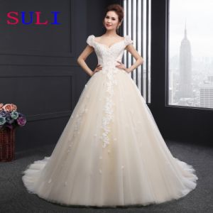 V-Neck Cap Sleeve Appliques Wedding Dress (SLD044)