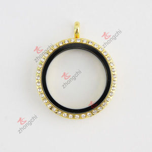Gold Rhinestone Round 30mm Glass Living Floating Charms Locket Necklace Fashion Jewelry Set pictures & photos