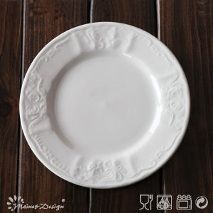 White Porcelain Embossed with Classic Design Side Plate pictures & photos