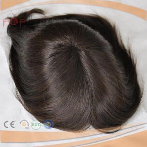 Short Length Mens Mono Lace Front Coated PU Border Hair Piece Toupee pictures & photos