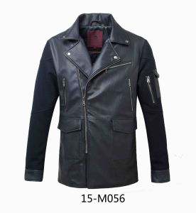 Men′s PU Leather Long Jacket (15-M056) pictures & photos