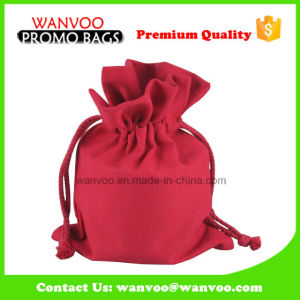 Promotion Red Cotton Fabric Drawstring Bags for Storage pictures & photos