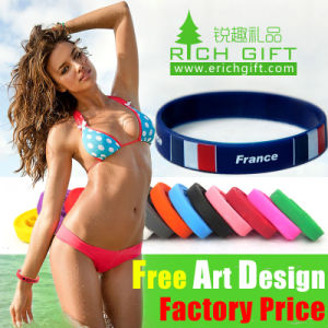 Promotional Gold Free Sample Silicone Wristbands with Your Logo pictures & photos