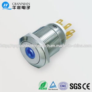 19mm 1no Nc/2no 2nc Resetable Self-Locking Flat DOT Illuminated IP67 Ik10 Push Button Switch pictures & photos