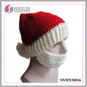 2015 Creative Christmas Crocheted Hat Hand-Knit Santa Claus Beard Cap (SNMXM016) pictures & photos