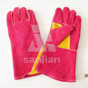 Double Palm Yellow Split Leather Ab/Bc Grade Welding Safety Glove with CE pictures & photos