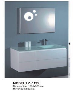 Modern Hanging White Curve Italy Bathroom Cabinet with Glass Basin pictures & photos