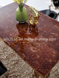 Luxury Golden Stainless Steel Marble Dining Table / Dining Room Furniture pictures & photos