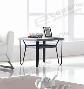 Metal Support Glass Table Produced in Foshan pictures & photos
