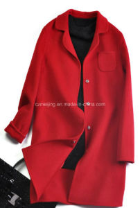 Red Woman′s Woolen Dust Coat