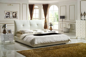 Modern Bedroom White Genuine Leather King Size Bed (HC1215) pictures & photos