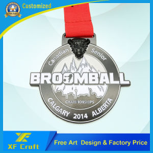 Custom Enamel Silver Sports Finisher Medal in Round Shape (XF-MD06) pictures & photos