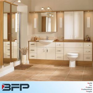 PVC White Flat Door Single Basin with Woodgrain Benchtop for Project pictures & photos