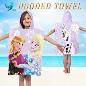 100% Cotton Velour Reactive Printed Custom Kids Hooded Towel pictures & photos