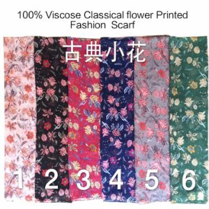 2017 Fashion Ladies Viscose Classical Flower Printed Designs Scarf Factory pictures & photos