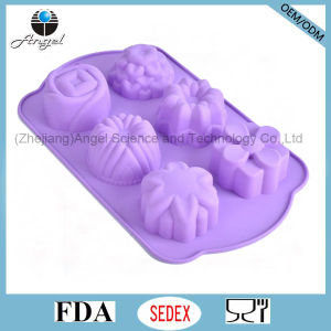 6 Flowers Baking Tool Silicone Cake Mould for Christmas Holiday Sc49